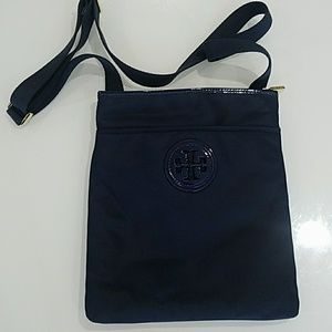 Tory Burch - navy blue nylon cross body purse